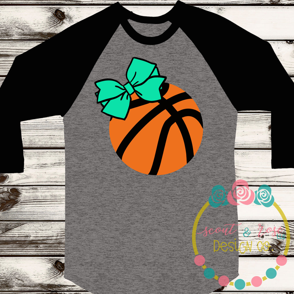 Basketball with Bow SVG DXF PNG