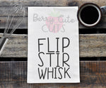 Flip Stir Whisk Tea Towel Design Cut File