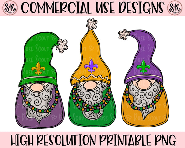 Mardi Gras Beads Gnomes Printable Design (2020)