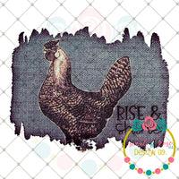 Rise and Shine Chicken Blue Jean Background Printable Design
