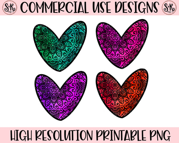 Mandala Heart Design Elements Set of 4 Printable Design (2020)
