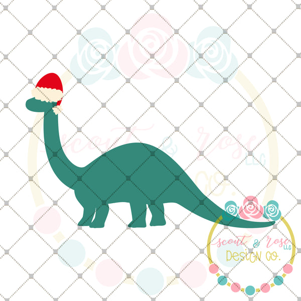 Brontosaurus Christmas SVG DXF PNG