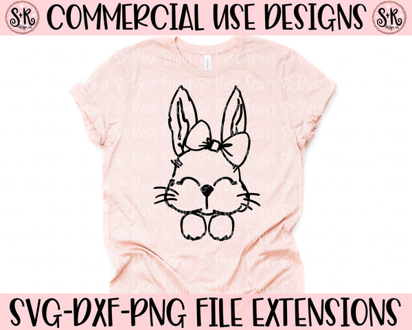 Bunny Bow Line Art SVG DXF PNG (2020)