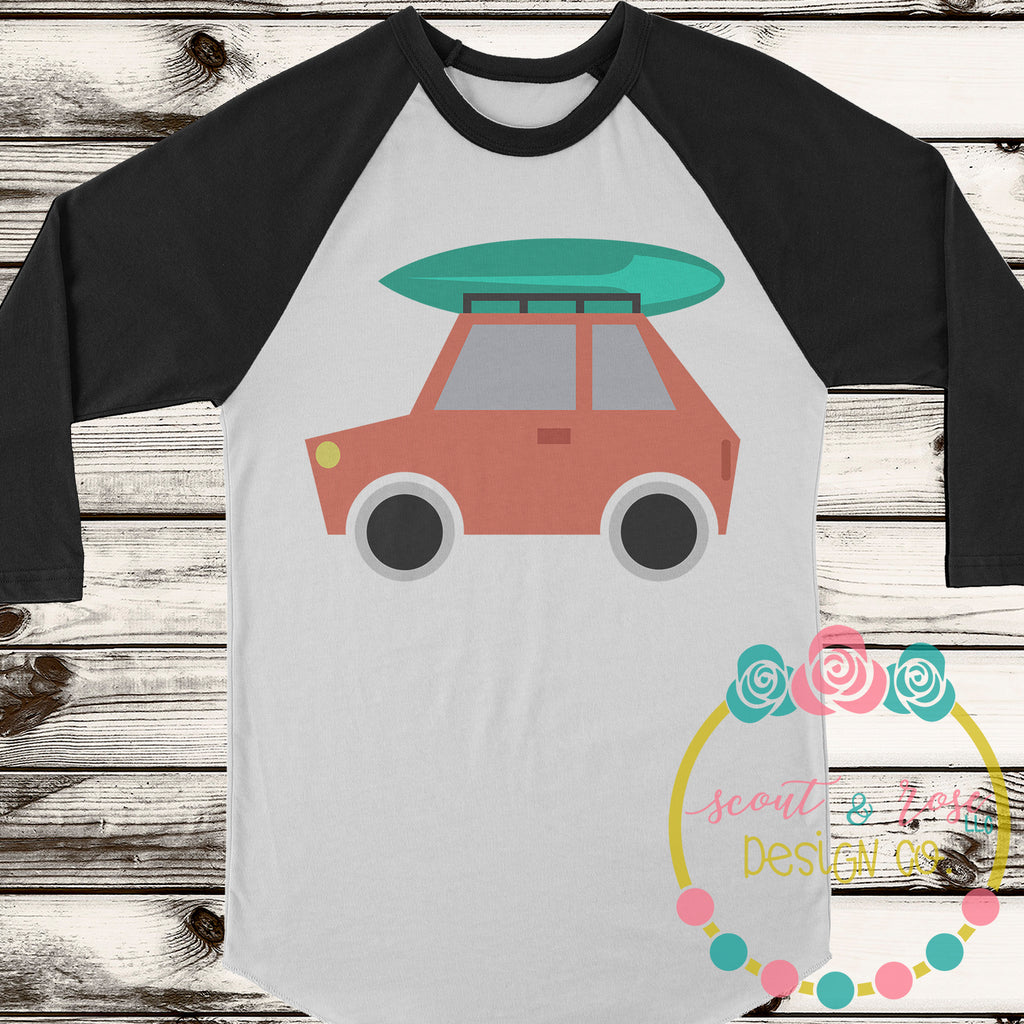 Car with Surfboard SVG DXF PNG