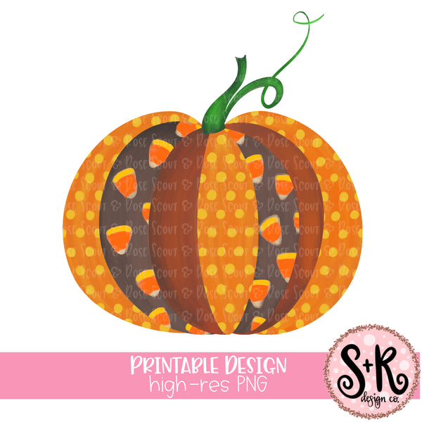 Candy Corn Pumpkin Printable Design (2019)