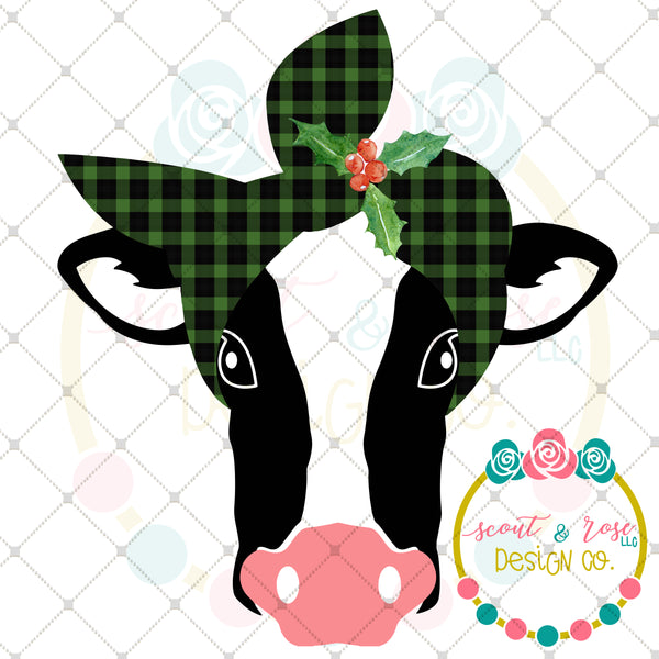 Buffalo Plaid Christmas Cow Sublimation Design