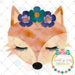 Fox with Floral Crown Sublimation Design
