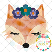 Fox with Floral Crown Printable Design