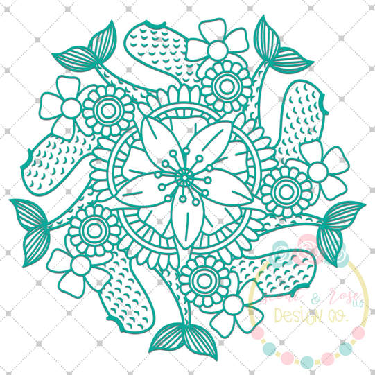 Mermaid Tail Zentangle SVG DXF PNG