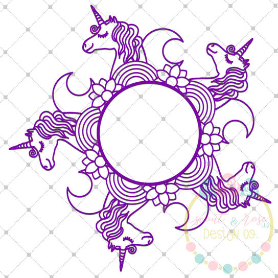 Unicorn Zentangle Monogram Frame SVG DXF PNG