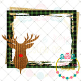 Rudolph Head Plaid Frame Printable Design