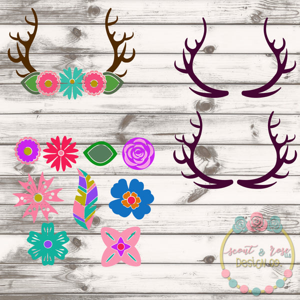 Design Your Own Floral Antler Set SVG DXF PNG
