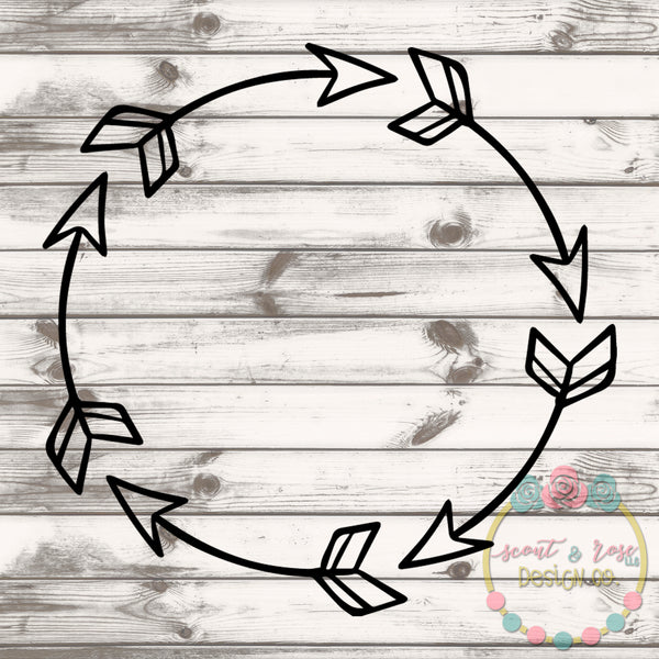 Doodle Arrow Monogram Frame SVG DXF PNG