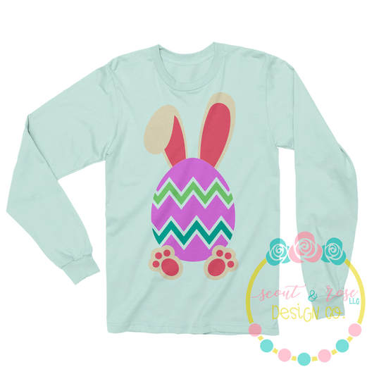 Chevron Easter Egg with Ears SVG DXF PNG