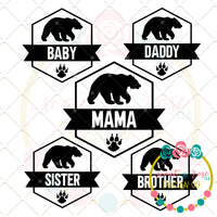 Family Bear Set SVG DXF PNG