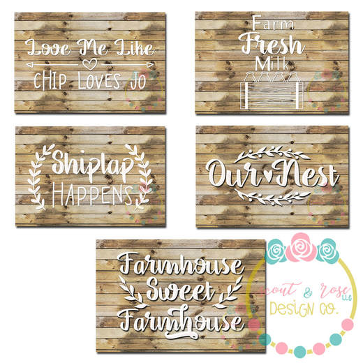 Hand Drawn Farmhouse Sign Set SVG DXF PNG