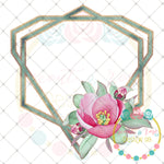 Watercolor Geometric Floral Frame Printable Design