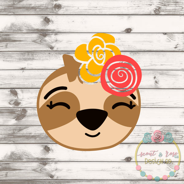Floral Sloth Girl SVG DXF PNG