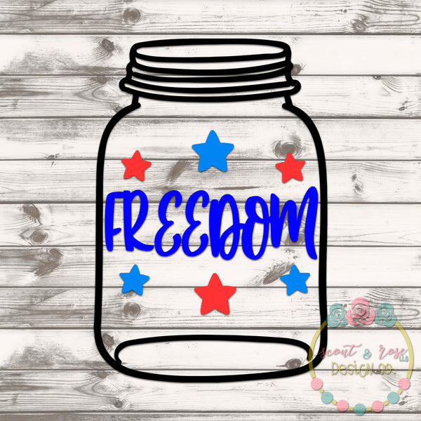 Freedom Mason Jar Rolled Flower Set SVG DXF PNG