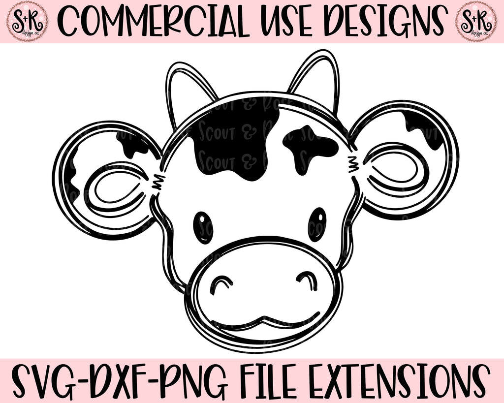 Cow Line Art SVG DXF PNG (2019)