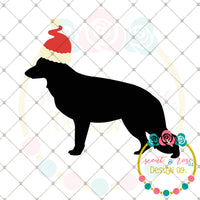Santa Hat German Shepherd SVG DXF PNG