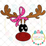 Cute Rudolph with Bow Sublimation Design