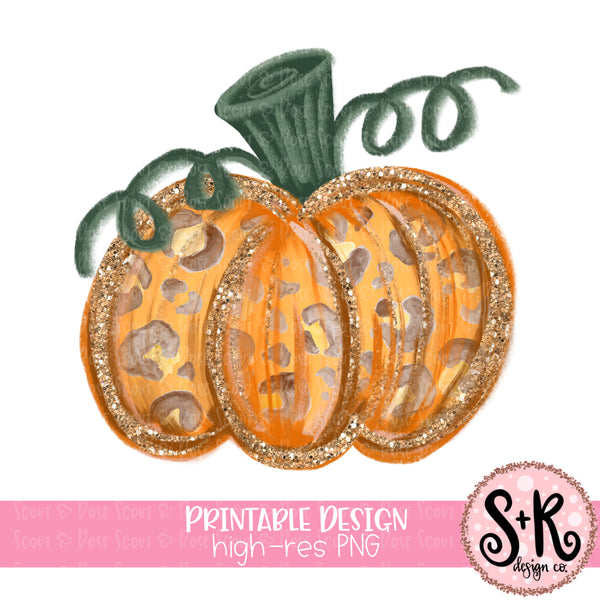 Glitter Pumpkin Printable Design (2019)