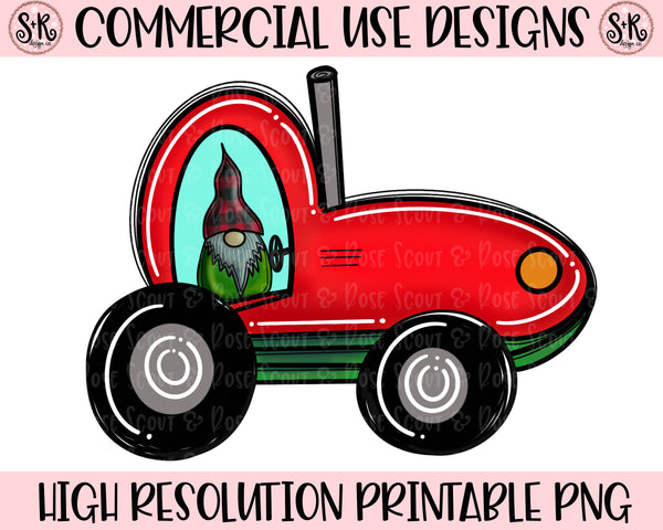 Gnome In Tractor Printable Design (2019)