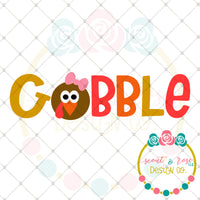Gobble Girl Turkey SVG DXF PNG