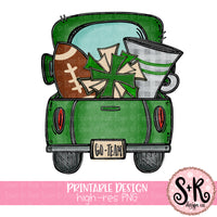 Green Football Truck Printable Design (2019)