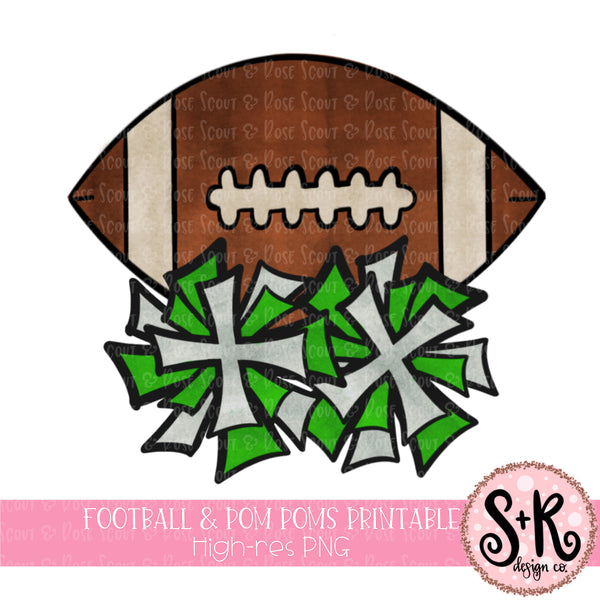 Football & Pom Poms Printable Design (2019)