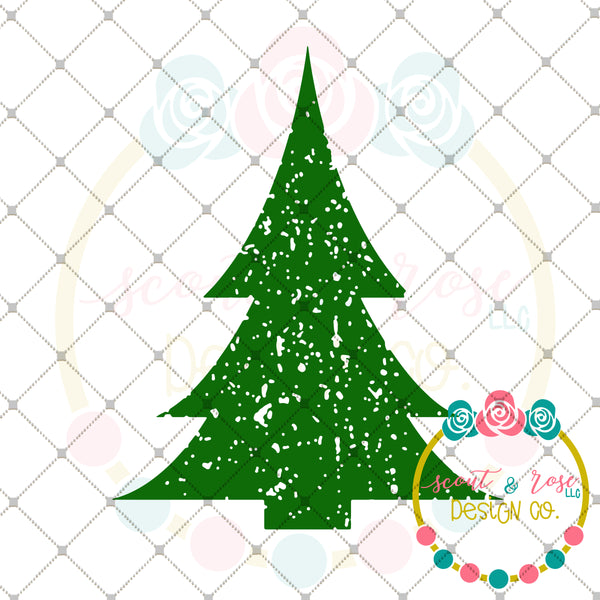 Grunge Christmas Tree SVG DXF PNG