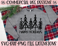 Happy Holidays Trees SVG DXF PNG (2020)