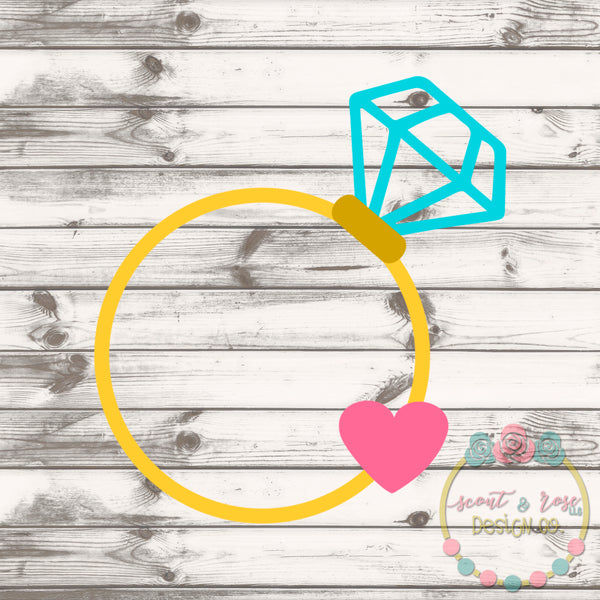 Heart Engagement Ring Monogram Frame SVG DXF PNG