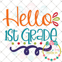 Hello 1st Grade SVG DXF PNG