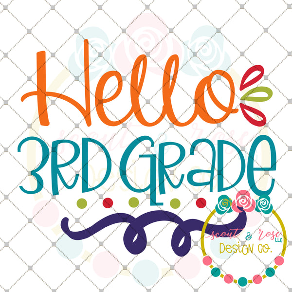 Hello 3rd Grade SVG DXF PNG