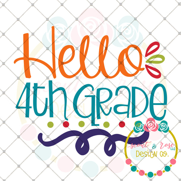 Hello 4th Grade SVG DXF PNG