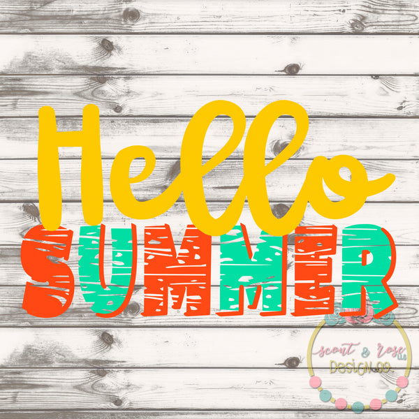 Hello Summer SVG DXF PNG