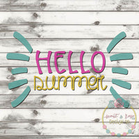 Hello Summer Cut File SVG DXF PNG
