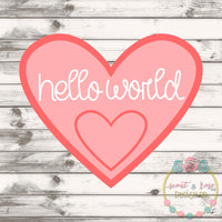 Hello World Heart SVG DXF PNG