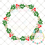 Holly Wreath For Monograms SVG DXF PNG