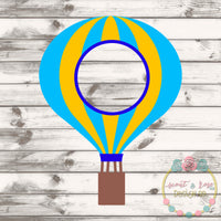 Hot Air Balloon Monogram Frame SVG DXF PNG