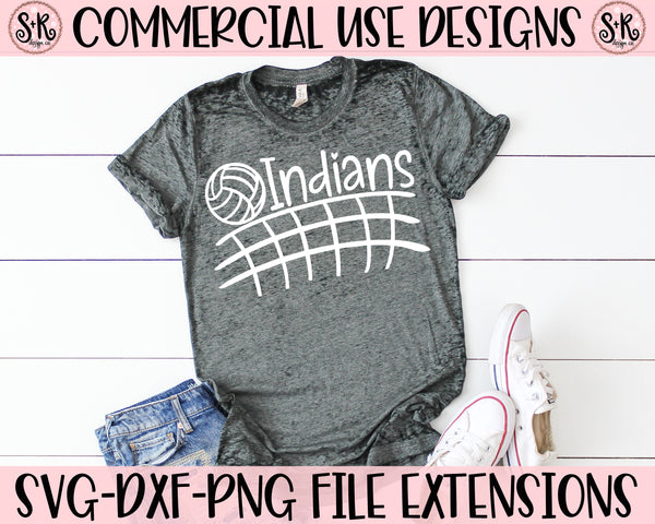 Indians Volleyball Net SVG DXF PNG (2019)