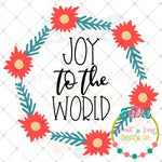 Joy to the World Christmas Wreath SVG DXF PNG