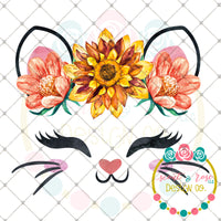Kitty Face Floral Crown Sublimation Design