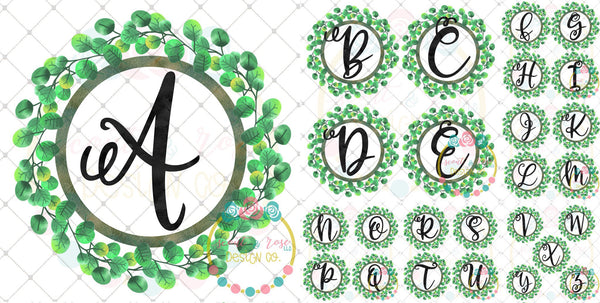 Floral Wreath Full Alphabet SUBLIMATION Set