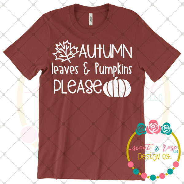 Autumn Leaves & Pumpkins Please SVG DXF PNG