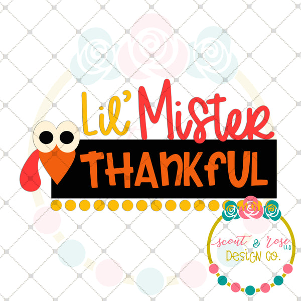 Little Mister Thankful SVG DXF PNG