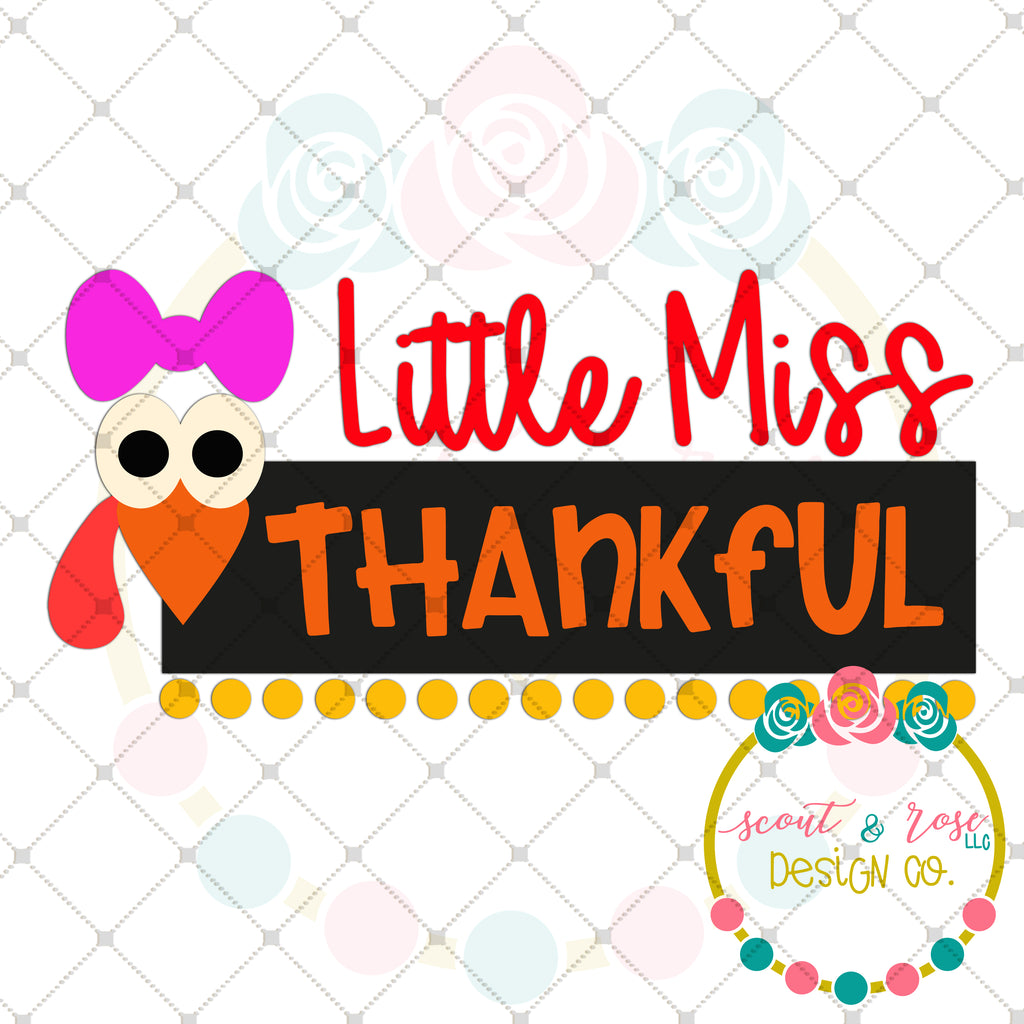 Little Miss Thankful SVG DXF PNG