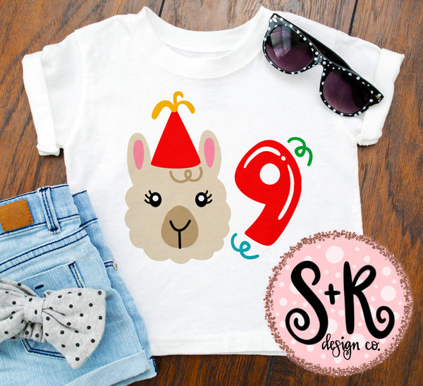 Llama 9th Birthday SVG DXF PNG (2019)